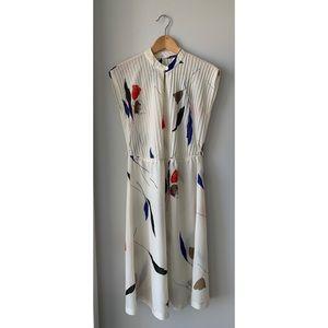 Vintage Flower Design Sleeveless Dress Medium